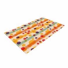 "Yenty Jap ""Bubble Stripes Fun"" Orange Geometric Woven Area Rug"