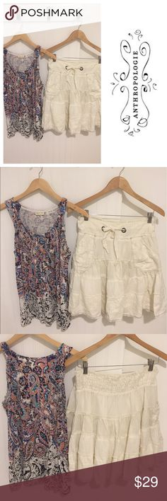 Anthropologie Meadow Rue tank & linen skirt M Meadow Rue prjnted tank is a size 6, top is. Free People ivory linen Skirt is a Size Medium. Price is for both items. Looking to clear my closet and sell as a set (if you don't like one of the items reposh it or give it away!). No trades please. Worn a few times but are in excellent condition. See my closet for more great deals on designer items. 15% off a bundle of three or more items. Anthropologie Skirts