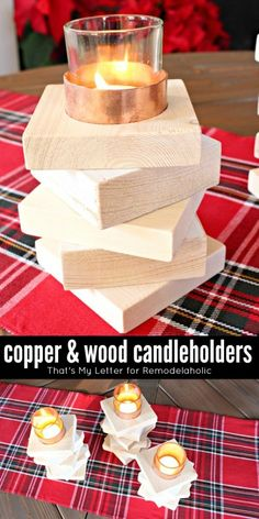 Build Copper and Wood Candleholders    That's My Letter for @Remodelaholic #winter #diy