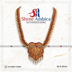 Traditional and Vintage Necklace etched with semi precious stones in 92.5 Silver from Shree Ambica - Your Trusted Jewellers. Pick this for the upcoming festive/wedding season. Readily available in stock Call/WhatsApp - +91986611050 #ShreeAmbica #silver #silverjewellery #trustedjewellery #pearls #emerald #marwadijewellery #marwadistyle #newcollection #shadisaga #hyderabadshopping #necklacedesign #brides #czjewellery #925jewelry South Indian Jewellery, Indian Jewellery Design, Jewellery Designs, Silver Jewellery, Necklace Designs, Indian Jewelry, Wedding Season, Festive, Emerald