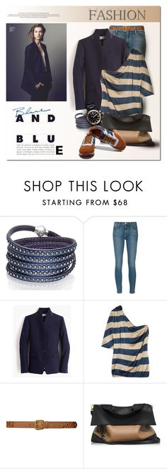 """""""blue and blue"""" by drn57 ❤ liked on Polyvore featuring Sif Jakobs Jewellery, Frame Denim, J.Crew, Lanvin, Lauren Ralph Lauren, Marni and TAG Heuer"""