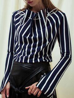 Shop Long Sleeved Tops - Dark Blue Turtleneck Simple Stripes Long Sleeved Top online. Discover unique designers fashion at StyleWe.com.