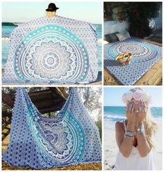 Blue Ombre Elephant Mandala Bohemian Yoga Beach Wall Boho Tapestry