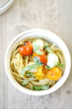 Caprese Pesto Linguine with Blistered Tomatoes I Heather's French Press