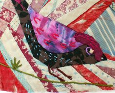 Unframed appliqued bird with embroidery on to vintage crazy quilt scrap Bird Applique, Applique Patterns, Quilt Patterns, Animal Rug, Animal Quilts, Quilting Projects, Quilting Designs, Bird Quilt Blocks, Bird Crafts