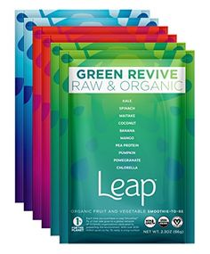 Leap Certified Organic Healthy Fruit  Vegetable Instant Smoothie Powder  Nutritious Raw NonGMO Superfoods  Natural Vegan Veggie Mix  No Sugar Added  Whole 30 Approved  6 Pack Discovery Pack -- Want additional info? Click on the image. (Note:Amazon affiliate link) #WeightLossSmoothies