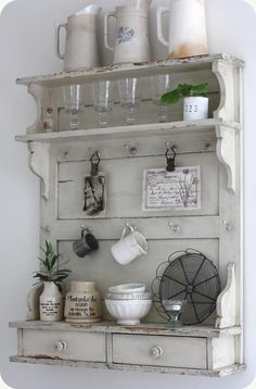 Farmhouse shelf with collectibles