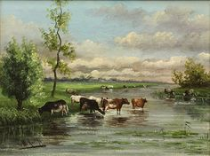 Landscape with Cows by Willem Roelofs (1822-1897)