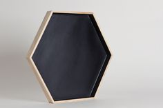 Hexagonal wood and lacquered black tray