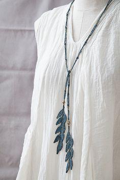 Leaf Lariat Necklace • Slate • Brass beads