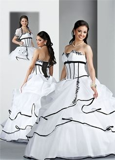 Ball Gown Strapless Embroidery Floor-length with Ruffles Tulle quniceanera dress QD083