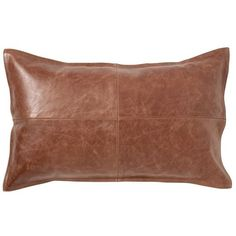 Pottery Barn Pieced Leather Lumbar Pillow Cover ($150) ❤ liked on Polyvore featuring home, home decor, throw pillows, brown, brown accent pillows, leather throw pillows, pottery barn, leather accent pillows and leather toss pillows