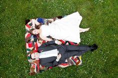 Picnic wedding photo, custom flower headpiece