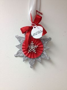 Snowflake glitter ribbon crystal button rosette sparkle Christmas holiday