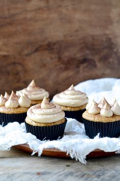 Irresistible light and healthy banana muffin cupcakes with coconut cream peanut butter mousse frosting - perfect with a cup of tea