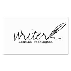 Elegant woman writers business card pen in hand elegant woman authors writers business card colourmoves Images