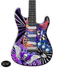 Skull Purple Painted Strat Electric Guitar Custom Hand Built Fender . jABy Juleez