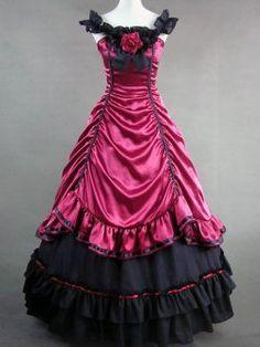 aristocrate lolita rouge victorien robe en satin renaissance à long