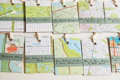 Custom Wedding Escort Map Tags -  Table cards. Buy old map put it on tag board, cut and make cute:)