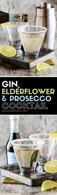 This Gin, Elderflower and Prosecco Cocktail is the perfect addition to any gathering! Don't forget the sugared rim, it's a little touch that adds a lot. snacks Best Gin Cocktails To Try Out Tonight Cocktails Halloween, Fun Cocktails, Cocktail Drinks, Gin Cocktail Recipes, Cocktail Party Food, Cocktail Ideas, Fancy Drinks, Yummy Drinks, Gin And Prosecco Cocktail