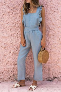 Ruffled Backless Sexy Linen Jumpsuit – cue-q Backless Jumpsuit, Jumpsuit Outfit, Casual Jumpsuit, Black Jumpsuit, Summer Jumpsuit, Denim Jumpsuit, Ruffle Jumpsuit, Summer Outfits, Casual Outfits