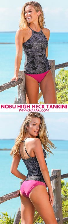 16f970c1e12a3 High neck tankinis for year around swim style. Pairs perfectly with high  waisted bottoms for. HAPARI