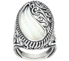 Carolyn Pollack Sterling Silver Carved Mother-of-Pearl Ring