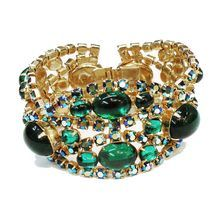 ALICE CAVINESS Glorious Deep Green Cabochon and Green AB Bracelet