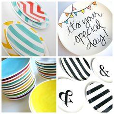 Hoe leuk is dit? Een simpel wit bord, wat porceleinstiften en je maakt unieke bordjes!