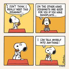 Snoopy and his doughnut. [ ha ha, I just realized.I am Snoopy. Snoopy Cartoon, Snoopy Comics, Peanuts Cartoon, Peanuts Snoopy, Peanuts Comics, Snoopy Love, Snoopy And Woodstock, Peanuts By Schulz, Tv Movie