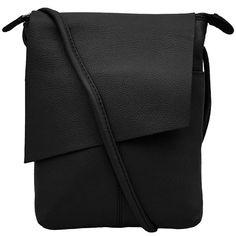 Leather Rawhide Flap Crossbody Bag - Black