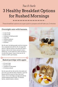 Tea & Curls: 3 Healthy Breakfast Options for Rushed Mornings Banana And Egg, Banana Overnight Oats, Healthy Breakfast Options, Mornings, Curls, Blogging, Tea, Baking, Lifestyle