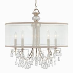 Modern Glam Shaded Crystal Chandelier - 5 Light (2 Finishes)  Dining room, over round table