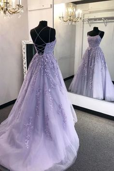 Criss-cross Straps A-line Lace Appliques Tulle Lilac Prom Dresses⚡ Prom Dresses for Teens, Prom Dresses for Girls, Cute Prom Dresses, Lovely Prom Dresses, Modern Prom Dresses Light Purple Prom Dress, Lavender Prom Dresses, Prom Girl Dresses, Prom Dresses For Teens, Prom Outfits, Quince Dresses, Ball Dresses, Purple Lace, Purple Prom Dresses