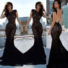 Para Mujer Vestido De Encaje noche formal Boda Largo De Fiesta Vestido Bodycon Vestidos Negro