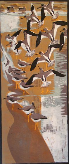 Robert Greenhalf (1950-): Redshanks, woodcut