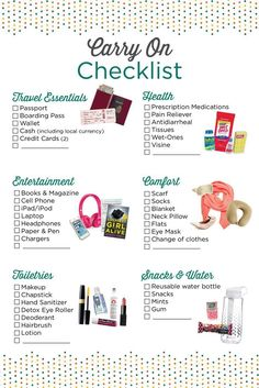 Carry on essentials checklist Travel Packing Checklist, Travelling Tips, Cruise Packing, Flight Checklist, Packing Hacks, Cruise Checklist, Honeymoon Checklist, Carry On Packing, Packing Tips For Vacation