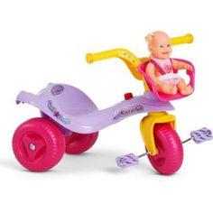 Triciclo Bandeirante Mototico Gatinha Leva Boneca, uma diversão para sua filha.    O tradicional triciclo para acompanhar as aventuras da criançada.