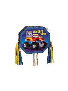 Monster Truck Pull Pinata - Each by UNIQUE. $11.08. Party Supplies. Kids' Party Supplies. This Monster Truck Jam Pinata is a must for any party! Decorative 20 to 30 ribbons are pulled by each child to release the treasures within. Measures a large 17x 8in.x17in. Add up to 3 lbs of candy, not inluded. This is an OVERSIZED item. OVERSIZED it. Save 25%!