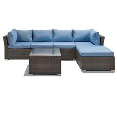 Incadozo Jicaro 5 Piece Outdoor Wicker Sectional Sofa Set Natural In
