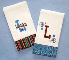 Absolutely adore personalized burp cloths.  Such a great gift idea for any new mom-to-be!