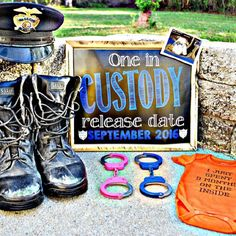 Chalkboard Pregnancy Announcement  Police Sheriff by MMasonDesigns