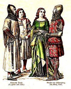 Plate #18a - Fourteenth Century German    Knightly Dress (2nd Half of Century), Gunther von Schwarzburg - King of Germany (1349)