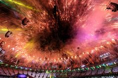 London 2012 Closing Ceremony - Fireworks explode over the stadium during the Closing Ceremony on Day 16 of the London 2012 Olympic Games at Olympic Stadium on August 12, 2012 in London, England. (Photo by Scott Heavey/Getty Images)