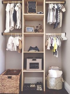 This neat nursery storage idea shows a closet separated in to 4 halves with a shelf in the middle