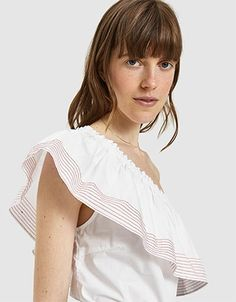 Casual top from Farrow in White. One shoulder neckline. Online Clothing Boutiques, One Shoulder Tops, Bell Sleeve Top, Ruffle Blouse, One Piece, Pretty, How To Wear, Blouses, Tees
