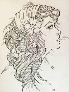 Gypsie woman head tattoo design