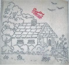 Vintage Embroidery Designs Vintage Thatched Cottage pattern ~ Deighton transfer for hand embroidery Hand Work Embroidery, Hand Embroidery Patterns, Vintage Embroidery, Cross Stitch Embroidery, Embroidery Thread, Embroidery Transfers, Needlepoint, Coloring Pages, Needlework
