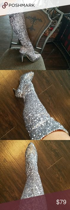 LIMITED EDITION STEVE MADDEN SEQUIN BOOTS!!! BRAND NEW!!!! Over the knee silver sequin boots!!! Absolutely gorgeous!!!! TOTAL STATEMENT PIECES!!!TINY SILVER sequins. Threw box away.  3 1/2 inches heel. HOT HOT HOT!!!  Steve Madden Shoes Over the Knee Boots