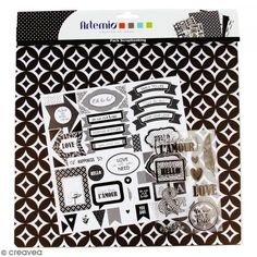 Kit scrapbooking Black and White - Papel, Pegatinas y Sellos - Fotografía n°1